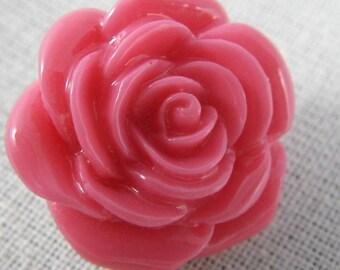 Bouton pression fleur rose  en résine
