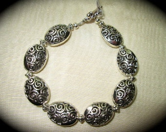 """Silver  filigree bracelet with toggle clasp 8"""" large size bracelet Oval filigree charm bracelet"""