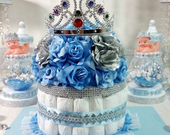 baby blue and silver wedding cakes cake centerpiece with crown for royal prince baby 10993