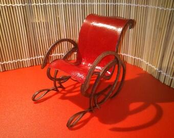 Art Nouveau style bordeaux leather armchair , 1/12 miniature for dollhouses