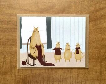 Knitting Kitten Greeting Card. Cute Cat Card