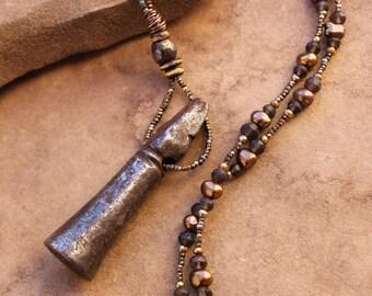 Artisan Necklace + Antique Tibet Iron Seal + Artifact + Ethnographic Artifact + Tibetan + OOAK + Antique and Gemstone Beads