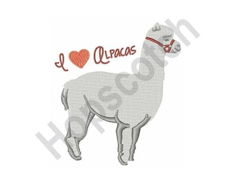 I Love Alpacas - Machine Embroidery Design, Alpaca