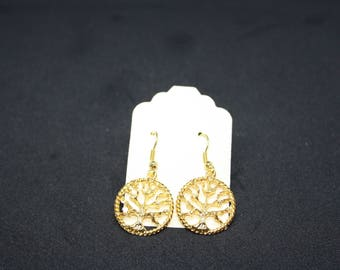 Gold Plated TREE of LIFE , Drop Earrings,Dangle Earrings,Drop Earrings