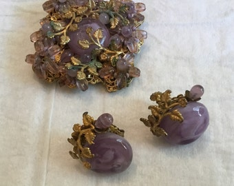 Gorgeous Miriam Haskell Purple Brooch and Earrings