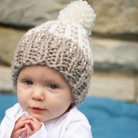 Baby Girl Fair Isle Hat Knit Pom Pom Hat Newborn and Infant