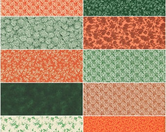 Fat Quarter Bundle. Quilting, Sewing and Craft Projects, Floral Calico Cotton Fabric. Multiple Orange and Green Color Prints.