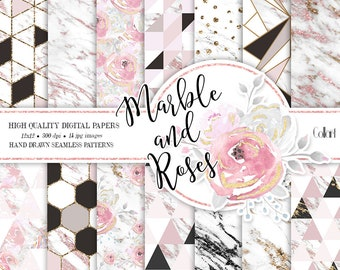 Marble digital paper, Geometric Patterns, Abstract Patterns, Marble gold, fashionable planner stickers, marble backgrounds, floral paper