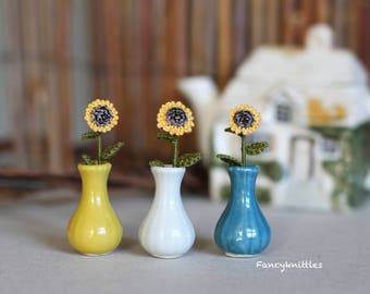 Crochet Sunflower  Miniature Dollhouse Cut Plant, Collectable Gift, Keepsake, Thank You Gift for Mother, Friend, Woman. CHOOSE OPTION