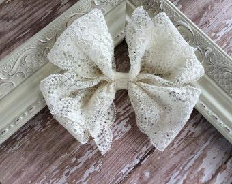 Large Ivory Lace Pinwheel Hair Bow
