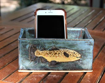Brown Trout desk box in stoneware with textured river background. Phone, Post-it Note holder, keys, wallet box. Ek Creations Design.