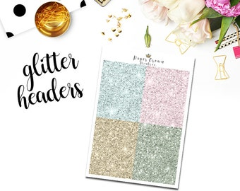 FREE SPIRIT Glitter Headers/Planner Stickers for use with Erin Condren Planner/Happy Planner Stickers/Headers/Horizontal/Weekly Kit