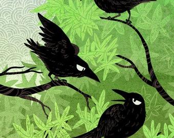 Summer Crows 5x7 art print
