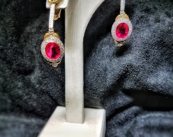 Vintage 1930's Ruby and Diamond Ear Rings Downton Abby!