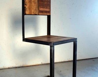 Handmade Industrial Chair - Reclaimed Parquet Dance Floor