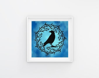 Gift-For-Brother - Black Raven Gift - Raven Art Gift - Gift Raven Crow - Black Raven Decor - Gothic Black Crow - Raven Wall Decor