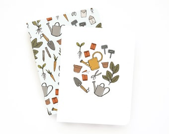 Pocket Journal Set of 2 | Illustrated Small Notebooks with Lined Pages: Gardener's Notes Pocket Journal Set