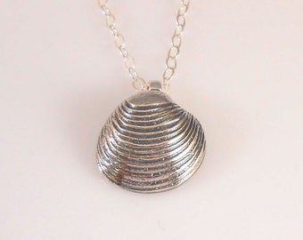 Fine Silver Shell on Sterling Silver Necklace