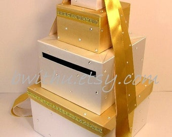 Wedding Card Box Gold and White Gift Card Box Money Box Holder--Customize your color