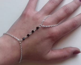 Gothic Slave Chain Bracelet , Black Crystal Slave Bracelet , Gothic Bracelet , Black Bracelet , Handmade Jewelry , Handmade Gift , Boho