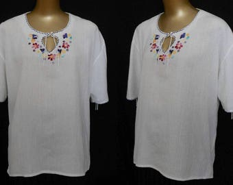 Hand Embroidered Mexican Blouse with Lace Up Sleeves, 1970s White Cotton Gauze Top -- Size XL to XXL