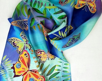 Silk scarf Hand painted silk Butterfly wings Floral scarf Handpainted scarves Spring fashion Women scarf Birthday gift for her Daughter gift