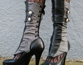 Spats - Herringbone and leather with gathers-Aurelia-