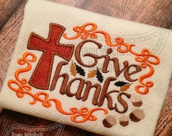 Give Thanks applique embroidery design