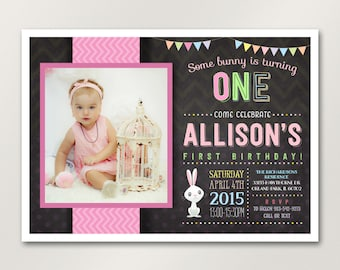 Bunny Birthday Invitation, Some Bunny Invitation, Easter Birthday Invitation, Pink Girl's First Birthday, Photo Invitation