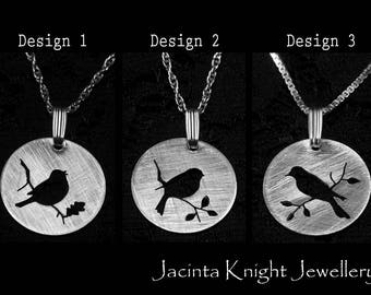 Sterling silver bird pendant - 14mm, 16mm, 19mm or 22mm