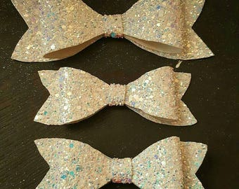 White Chunky Glitter Bow with Blue tint