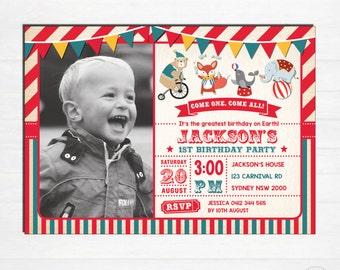 CARNIVAL Birthday Invitation. Circus Invitation. 1st 2nd 3rd All Ages Printable Digital Invite. Vintage Circus Invite. Photo Invitation CAR1
