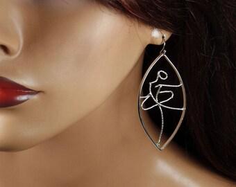 Sterling silver dangle earrings, ballet dancer