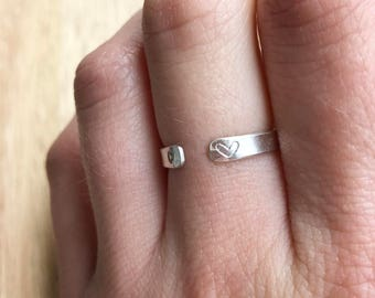 Silver Initial Ring, Initial Ring, Stamped Ring, Personalized Ring, Initial Cuff Ring, Cuff Ring, Silver Stacking Ring