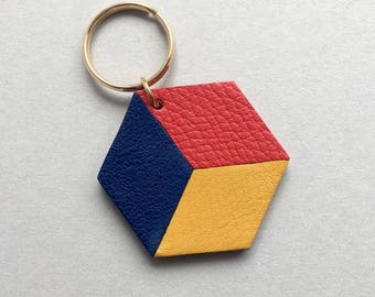 Geometric bag charm / keychain 3D Hexagon ( the CUBE ) made from red, yellow and blue leather. Gift under 20