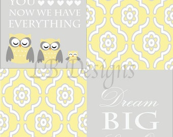 Gender Neutral Nursery Decor, Yellow and Gray Nursery, Owl Nursery Prints, Woodland Nursery Decor 8x10s