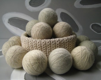 Extra Large Dirty Girl Wool Dryer Balls set of 8 - 4 cream color and 4 grey