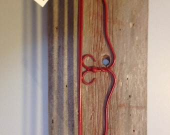 Reclaimed Barn Wood and Red Wrought Iron Shelff