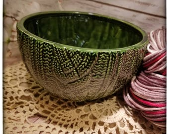 Leaf Green cabled sweater bowl