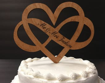 Personalized Infinity Heart Cake Topper