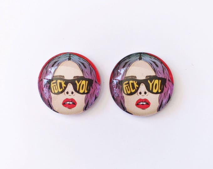 The 'F*** You' Glass Earring Studs