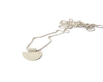 Solar Collection - Necklace - sterling silver contemporary jewelry abstract urban geometric circle half moon round