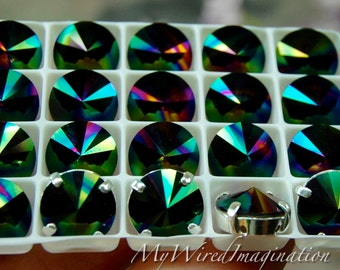 Swarovski Rainbow Dark, 10mm Rivoli 1122, Genuine Swarovski in Setting, New For 2017, Crystal in Settings, Sew On Rivoli, Rainbow Dark