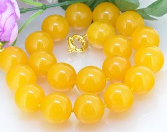 """17"""" 20"""" 20mm Large Yellow Jade Necklace , Large Round Beads Knotted Necklace , Wedding Yellow Jade Necklace"""
