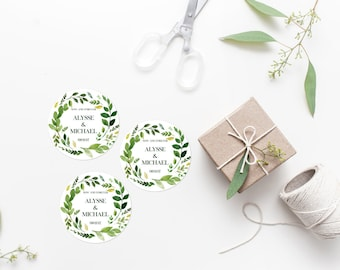 Personalized Greenery Wedding Favor Labels Printable Green Foliage Wreath Favor Tags Favor Stickers Wedding Decoration Wedding Tags 233