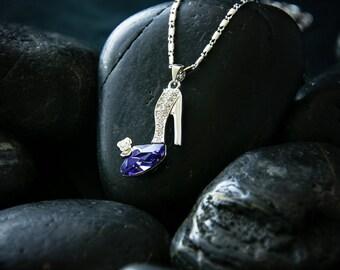 Tanzanite Stilleto Pendant and necklace - Featuring  Swarovski Crystal set in a Rhodium finish