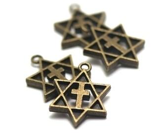 "10 charms ""cross star of david"", 23 x 17 mm, bronze"