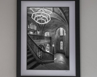 Chicago University Photo Art- The Saieh Hall, Gothic Architecture, University of Chicago Alumni Gift, College Decor, Retro Chicago Wall Art