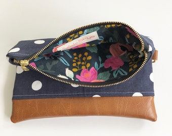 Ready to ship! Navy and white polka dot foldover clutch with floral interior