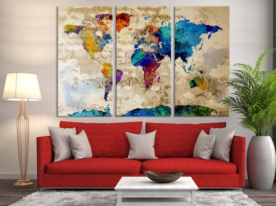 World map art print large world map world map canvas large gumiabroncs Gallery